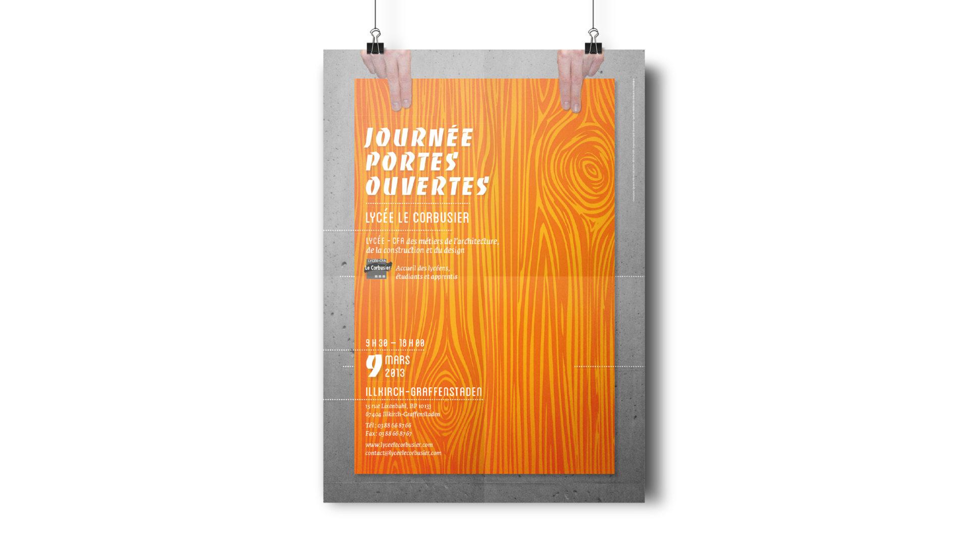 Affiche des journées portes ouvertes dy Lycée le Corbusier.