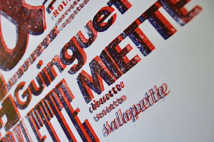 Letterpress bichromie affiche typographie typo